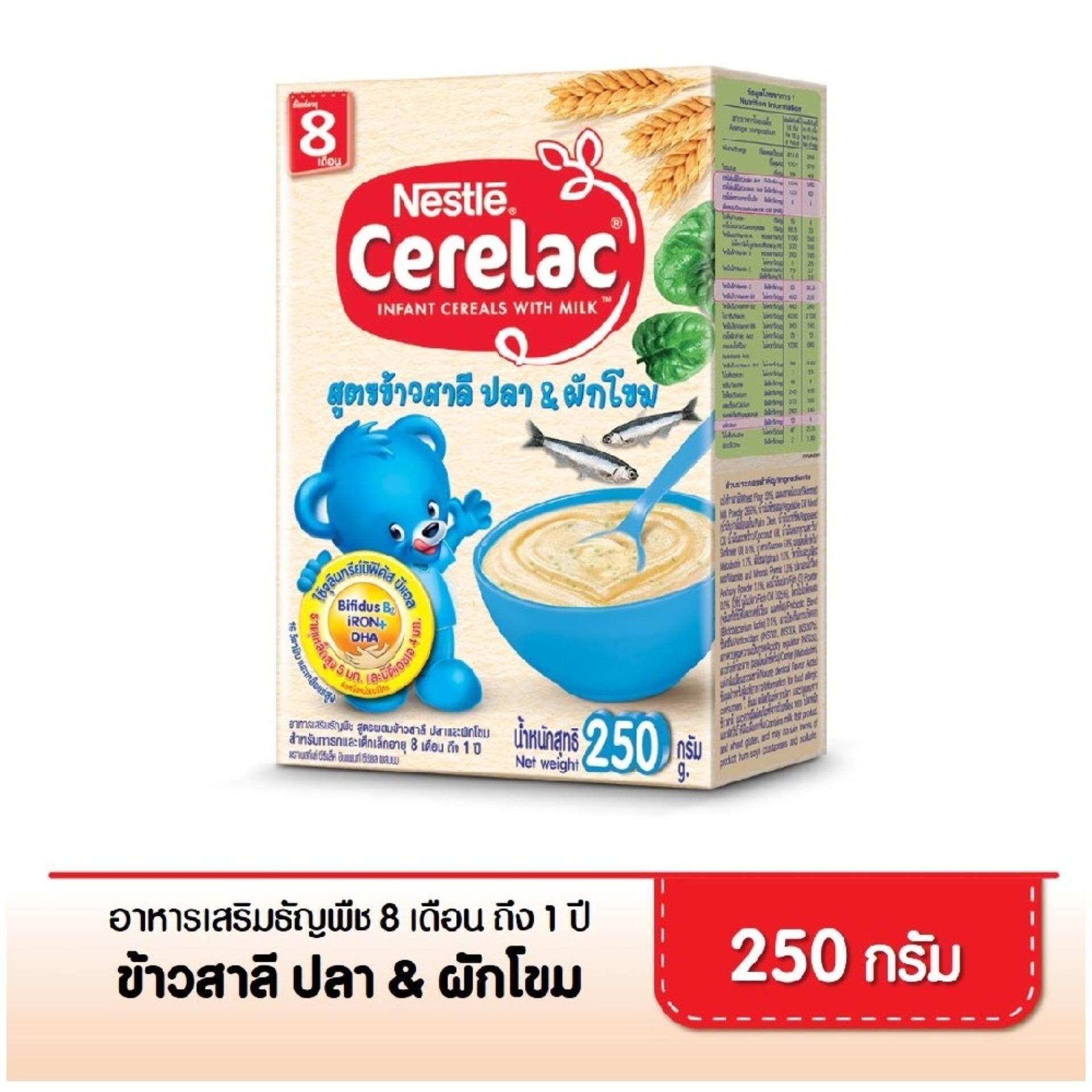 ซีรีแล็ค อาหารเสริมสำหรับเด็ก สูตรผสมปลาและผักโขม ขนาด 250 กรัม (1 กล่อง) By Lazada Retail Cerelac.