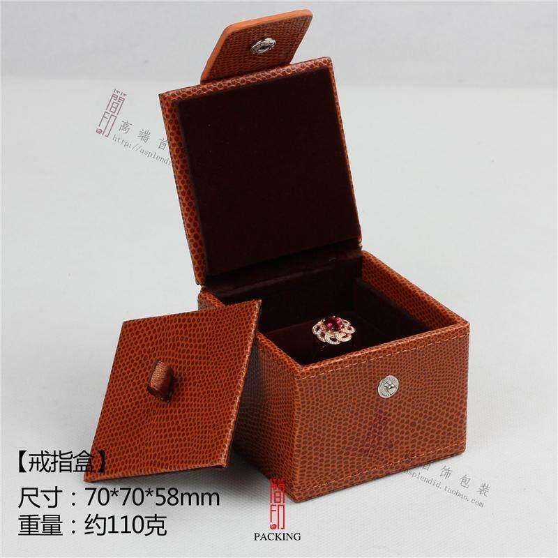 Seiko Kotak Perhiasan Retro Kulit Oranye Mobil Mewah Garis Perhiasan Kotak Kalung Cincin Mutiara