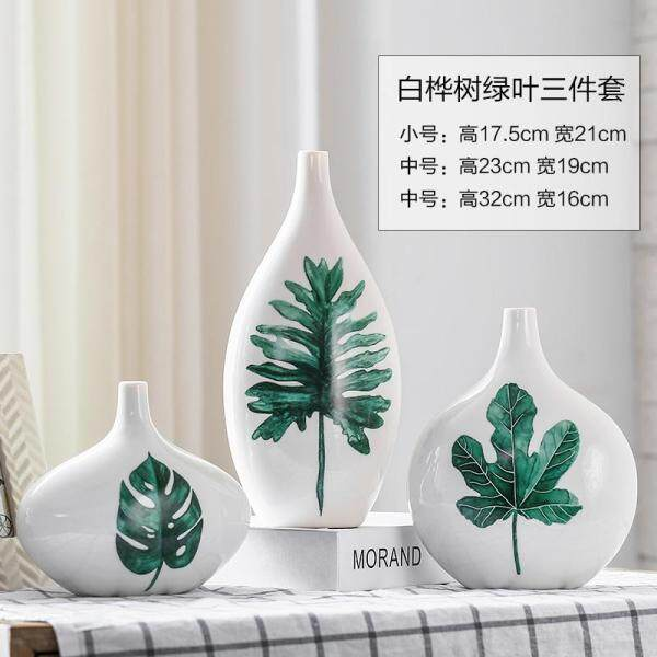58 Accessories Modern Minimalist Flower Holder Ceramic Craft Decoration Vase New Home Decoration Three-piece Set Vase Silver Birch