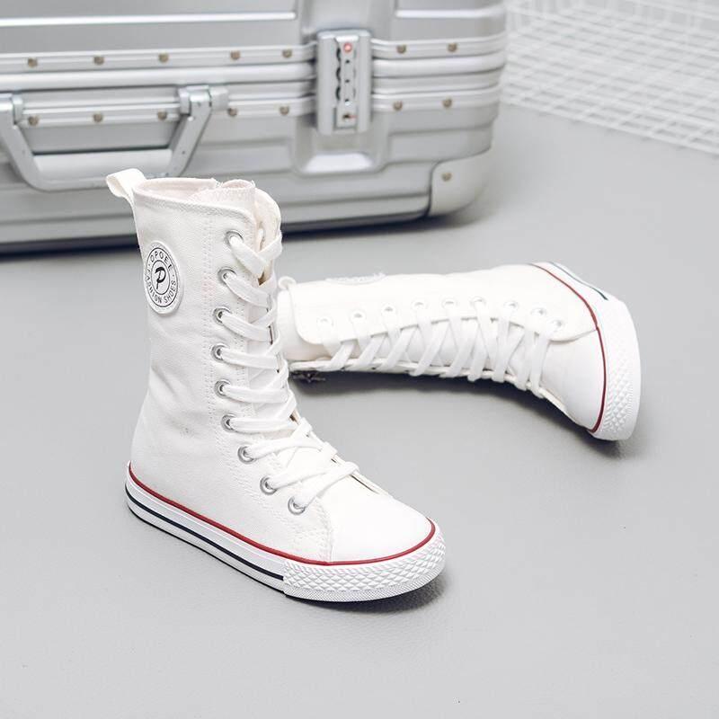 Anak-anak Sepatu kanvas 2019 model musim semi dan musim gugur anak laki-laki sepatu anak perempuan Pergelangan Kaki Tinggi tarian sepatu putih kecil putih Petpet sepatu sneaker sepatu kain