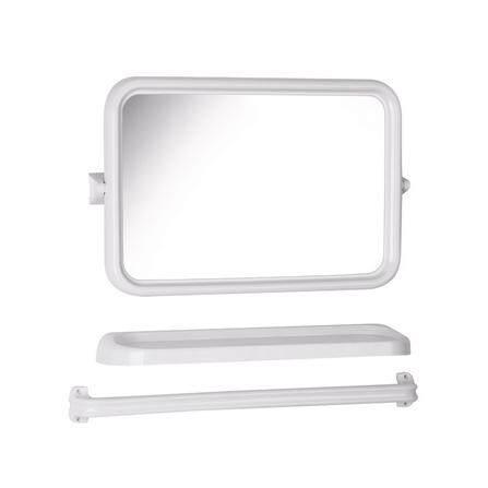 กระจกชุดเหลี่ยม 3ชิ้น ประกอบด้วย กระจก หิ้งวางของ ราวแขวนผ้า ปรับองศาได้.