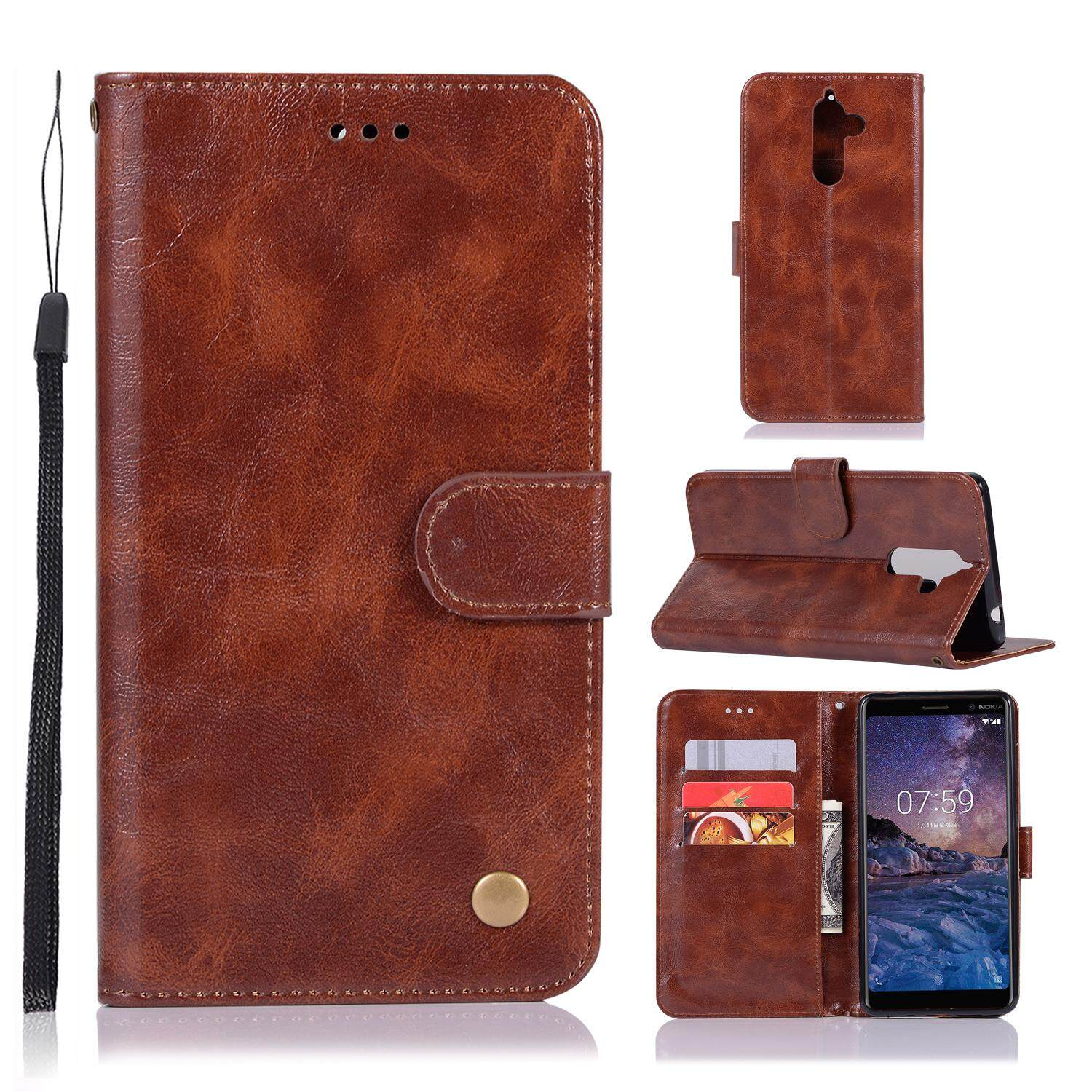 Casing For Nokia 7 Plus,reto Leather Wallet Case Magnetic Double Card Holder Flip Cover By Life Goes On.
