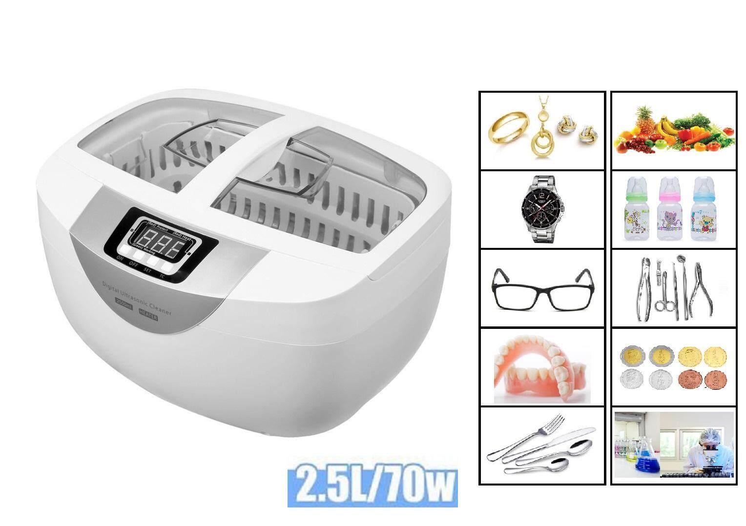 เครื่องทำความสะอาดล้างผักหรืออื่นๆระบบอัลตร้าโซนิก  2.5l Ultrasonic Cleaner แบบดิจิตอลสำหรับการทำความสะอาดอัญมณี แว่นตา นาฬิกา สร้อยคอ ข้อมือแหวน สร้อยคอ เหรียญ ฟันปลอม.