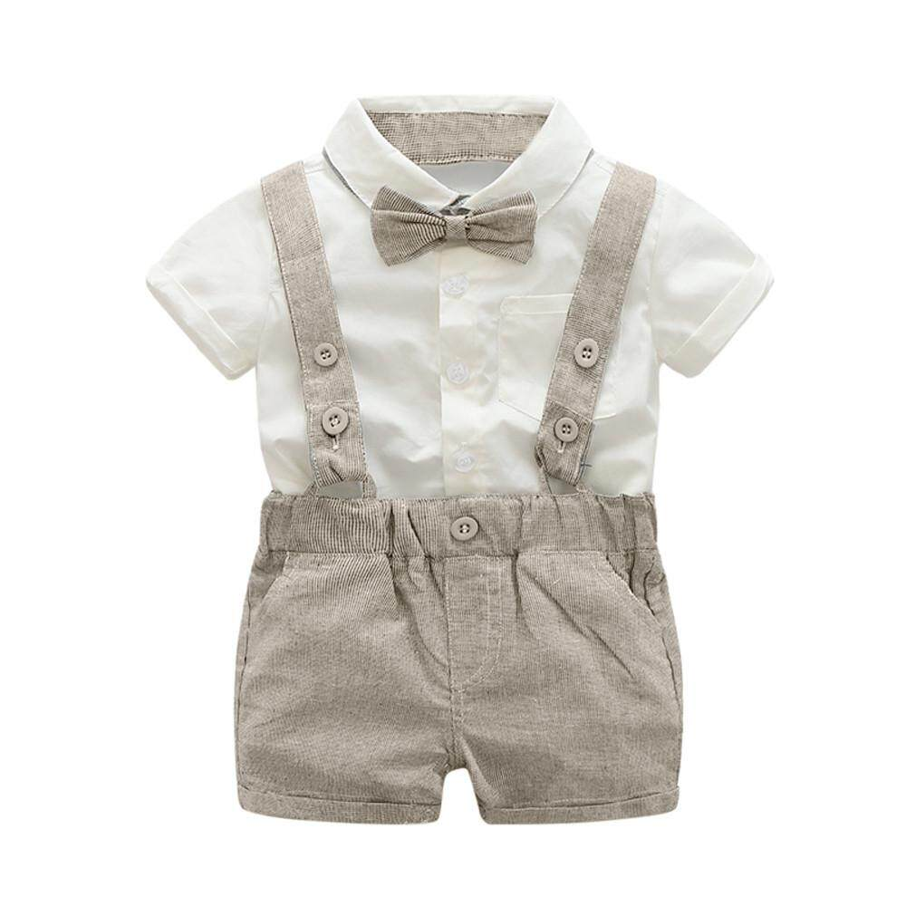 856c07b6e1140 0-2yrs old Baby boys summer Formal Suit Bowtie Short Sleeve t shirt  +Suspenders Shorts Set for boys sport suits baby boy outfit
