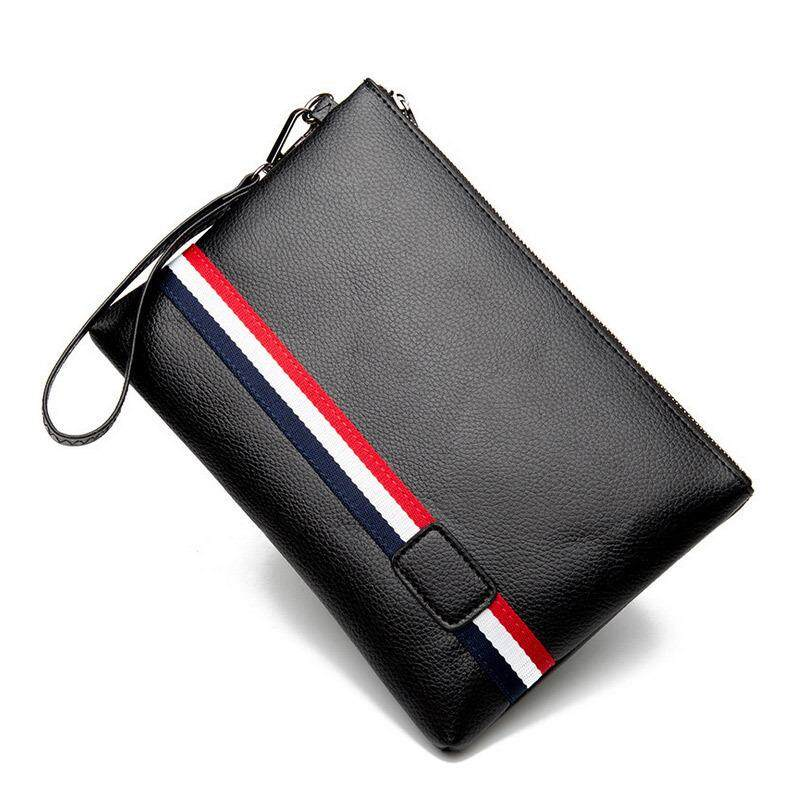 9994b2346329 Stripes Men s Handbag Business Casual Clutch Fashion Small bag bags ruan pi  bao Youth Trend Envelope