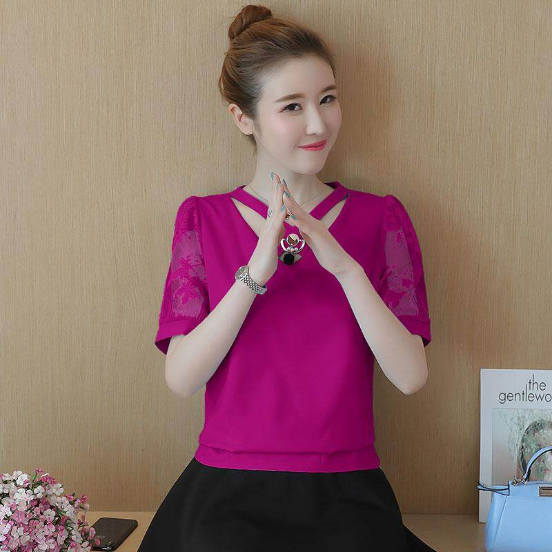 Kaos Sifon Lengan Pendek Atasan Korea Fashion Style Berongga