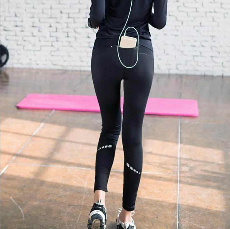 กางเกงขายาวออกกำลังกาย โยคะ/ฟิตเนส/วิ่ง กระชับกล้ามเนื้อ สวมใส่ได้ทุกโอกาส เพื่อความเบาสบาย คล่องตัว มีซิปหลังใส่มือถือ กุญแจ .