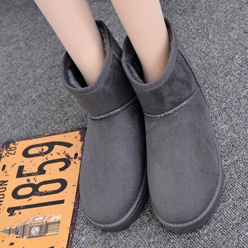 Harga pasangan sepatu roti wanita ukuran besar sepatu bot pendek tambah beludru tahan | HARGALOKA.