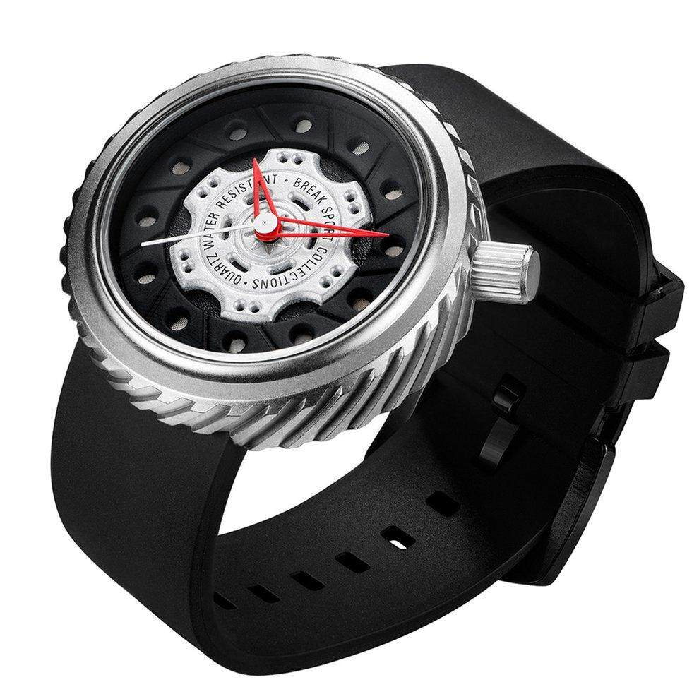 BREAK M728 Men Watch Rubber Strap Waterproof Quartz Watch With Calendar silver Malaysia