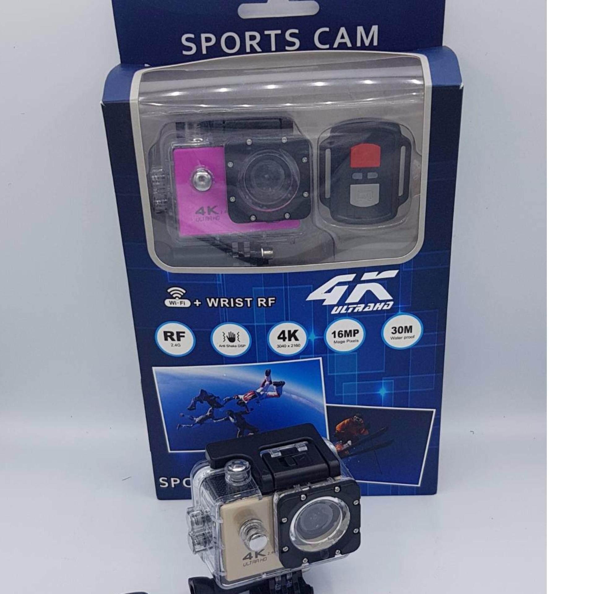 กล้องกันน้ำกันกระแทก ความละเอียด 4K 3040x2160  Ultra HD หน้าจอ2นิ้ว กันน้ำได้ลึก30เมตร +Wifi ความถี่ RF 2.4GHZ พร้อมระบบกันสั่น +รีโมทคอนโทรล สำหรับควบคุมการถ่ายภาพ