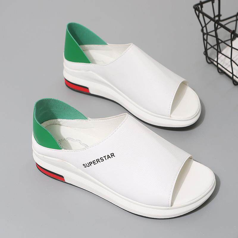 8f38012d9d4b Double Purpose women Slippers Summer New Style Thick Bottomed Versatile  White Shoes Muffin Fish Mouth Korean
