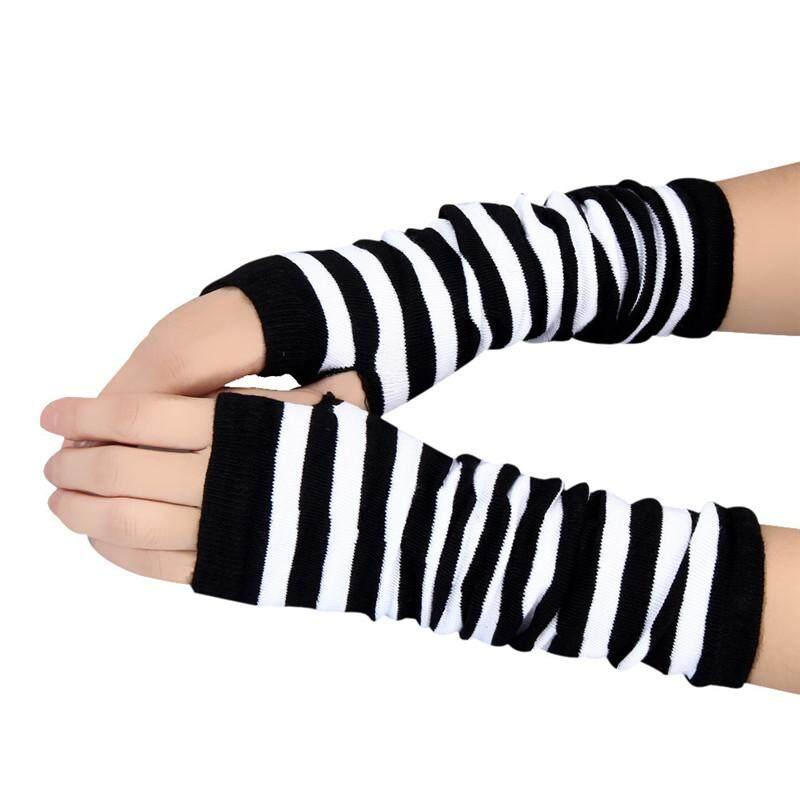 Detail Gambar Hitam & PUTIH 1 Pair Pria & Wanita Musim Dingin Pergelangan Tangan Lengan Tangan