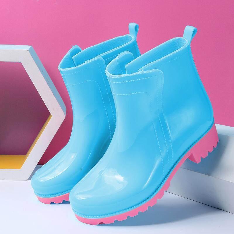 Musim gugur musim dingin modis di Pendek perempuan sepatu boots hujan Anti  Selip sepatu anti air 81d550e172