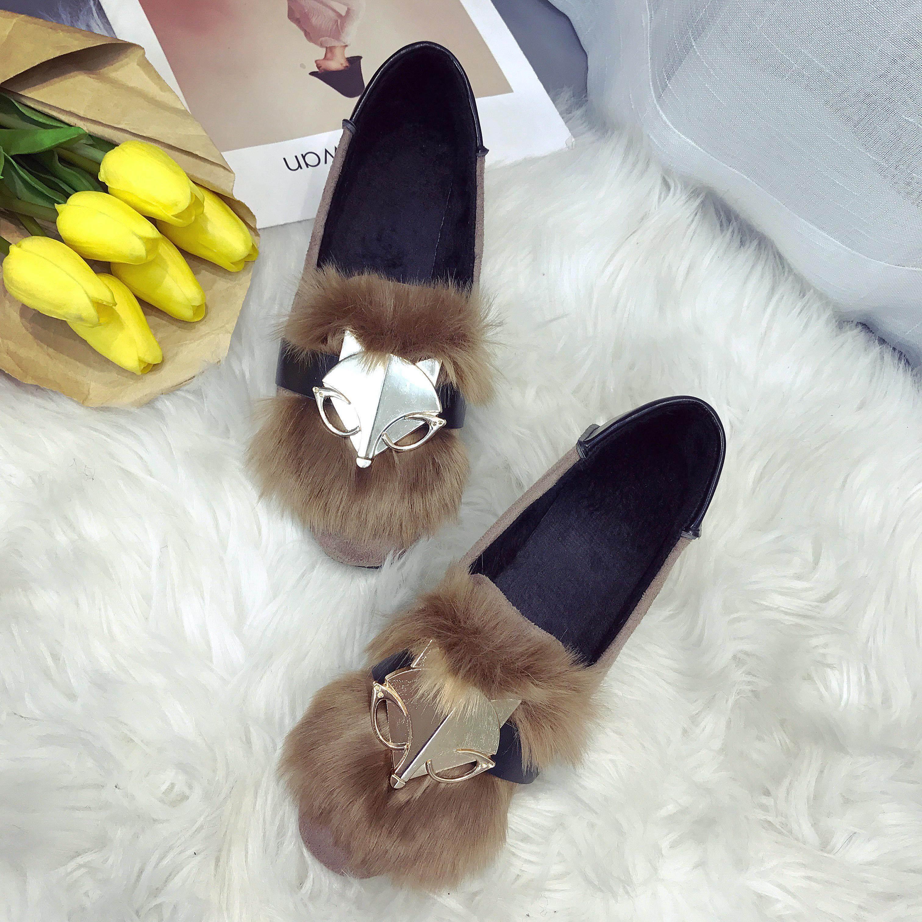 Sepatu Flat Tambah Beludru Sepatu Anti Slip Logam