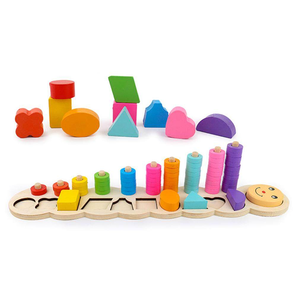 TP Anak-anak Ulat Kayu Bongkar Pasang Geometri Papan Puzzle Kotak Nomor Bentuk Yang Sesuai dengan Mainan Pendidikan untuk Siswa Prasekolah
