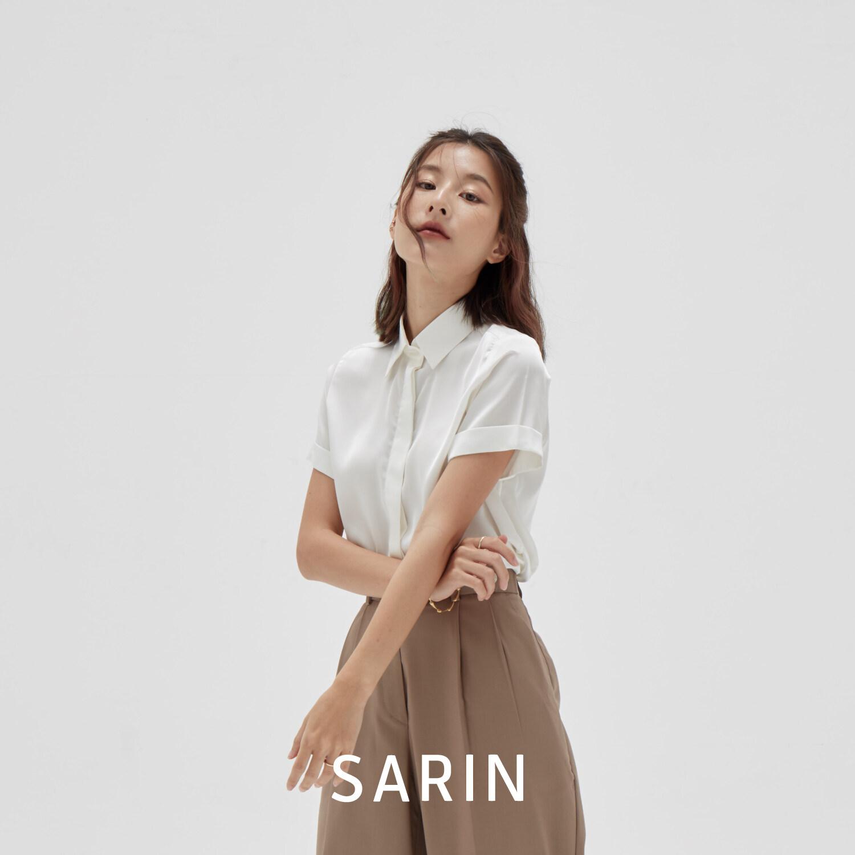 SARIN เสื้อ แขนสั้น Silk 100% รุ่น Rosé กระดุมซ่อน (พรีออเดอร์ 2 สัปดาห์)
