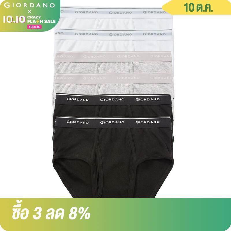 [6] Giordano ผู้ชายชุดชั้นในผู้ชายคลาสสิกโลโก้สั้น Underwears แพ็ค6สำหรับผู้ชายยืดหยุ่นจัดส่งฟรี01177014