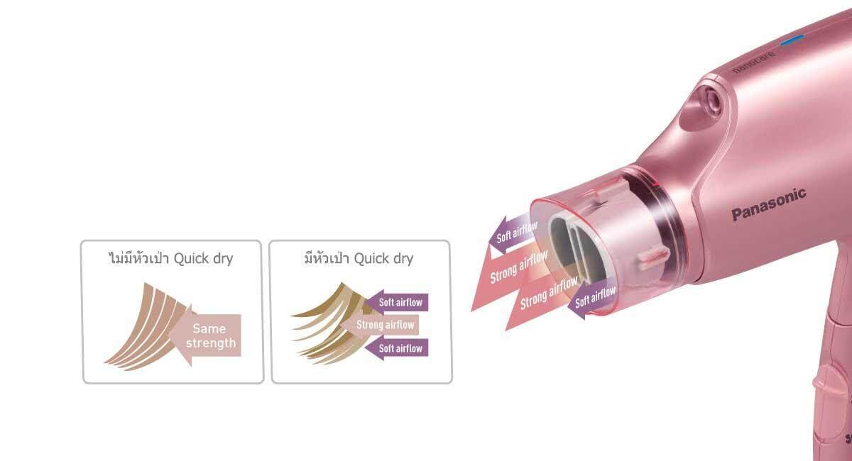 Panasonic ไดร์เป่าผมไฟฟ้าระบบ nanoe™ กำลังไฟสูงสุด 1,600 วัตต์ รุ่น EH-NA32 หัวเป่าแบบ Quick-dry
