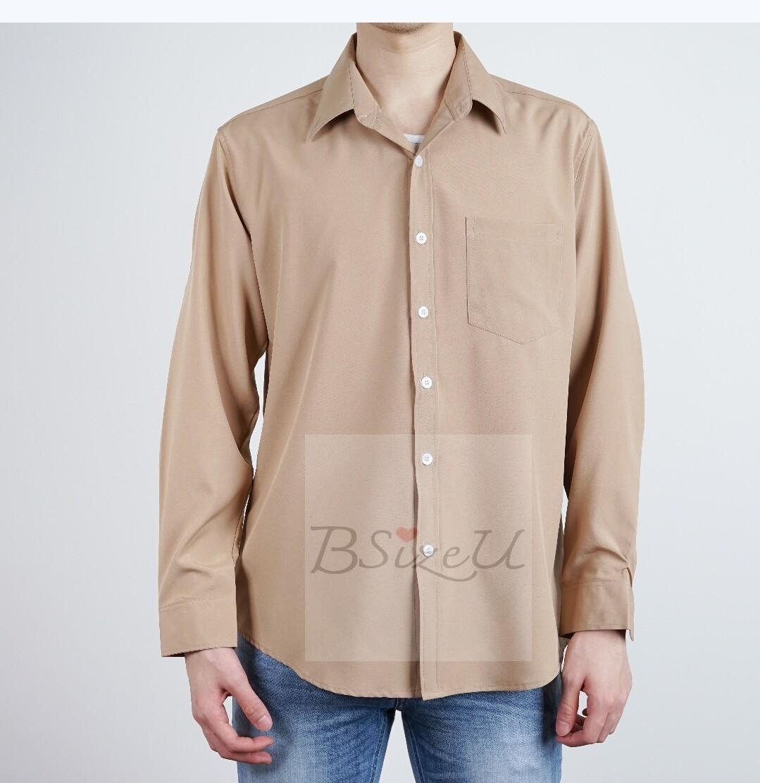 ?เสื้อเชิ้ตผู้ชาย เสื้อเชิ้ตแขนยาว เสื้อผู้ชาย ผ้าไหมอิตาลี มี 10 สี สีพื้น ? ทรง Slim Fit (เข้ารูป) แบรนด์ BSizeU
