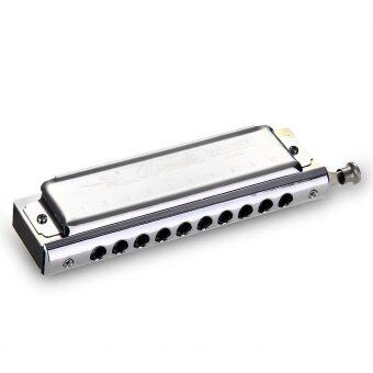 10 Holes Chromatic Harp Harmonica Key of C 40 Tone Silver