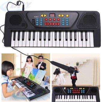 คีย์บอร์ดแบบพกพา 37คีย์ อวัยวะ เปียโนดิจิตอล คีย์บอร์ดและเปียโน สำหรับเด็ก(สีดำ)