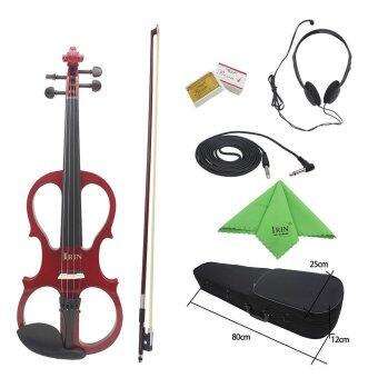 4/4 Wood Maple Electric Violin Fiddle Stringed Instrument with Ebony Fittings Cable Headphone Case for Music Lovers Beginners Outdoorfree - INTL
