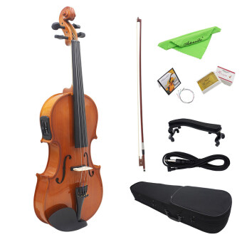 4/4 Full Size Natural Acoustic EQ Violin Fiddle Solid Wood SpruceFace Board with 6.35mm 1/4