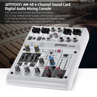ammoon AM-4R 6-Channel Sound Card Digital Audio Mixer Mixing Console Built-in 48V Phantom Power Support with Power Adapter USB Cables for Recording DJ Network Live Broadcast Karaoke - intl