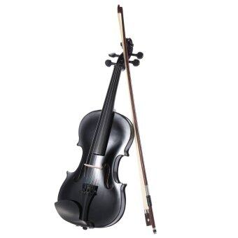 ammooon 3/4 Student Violin Metallic Black Equipped with Steel String w/ Arbor Bow + Case for Beginners Music Lovers
