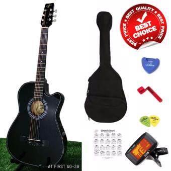 """At First กีตาร์โปร่ง Acoustic Guitar 38"""" รุ่น AG-38BK ลูกบิดเหล็กโครเมี่ยม พร้อมที่ตั้งสาย ปิ๊ก*2 ที่เก็บปิ๊ก กระเป๋า ตารางคอร์ด"""