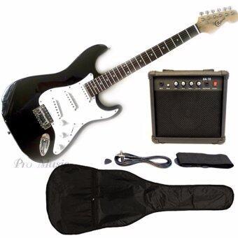 Cravis กีตาร์ไฟฟ้า Electric Guitar Set ทรง Stratocaster Fender พร้อม แอมป์ 15W สายแจ็คสายสะพายปิ๊ก (สีดำ)