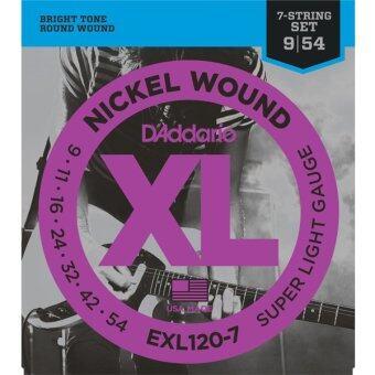 D'Addario สำหรับกีตาร์ 7 สาย รุ่น EXL120-7 Nickel Wound ElectricGuitar Strings, Super Light, เบอร์ 9-54