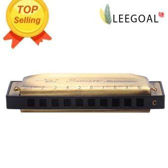 Leegoal C Key 10 Hole Chromatic Blues Harmonica Mouth OrganInstrument (Bronze) (Intl)