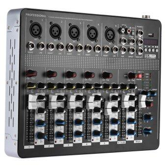 Professional Bluetooth 7-Channel Mic Line Audio Mixer Mixing Console with 3-band EQ 48V Phantom Power USB Interface - intl