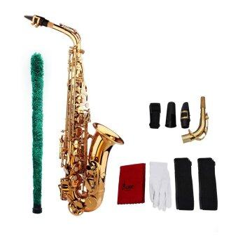 Saxophone Sax Eb Be Alto E Flat Brass Carved Pattern on Surface Plastic Mouthpiece Exquisite with Gloves Cleaning Cloth Brush Straps Outdoorfree - intl