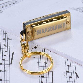 Suzuki Mini 5 Holes 10 Tone Harmonica Keychain Key of C Golden Outdoorfree - intl