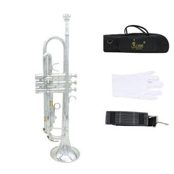 Trumpet Bb B Flat Brass Exquisite with Mouthpiece Gloves Silver Outdoorfree - intl