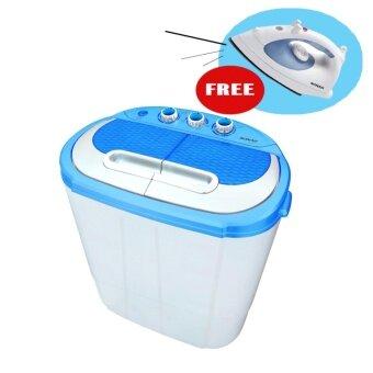 เครื่องซักผ้าแบบสองถังสีฟ้า Sonar โมเดล EW-S260+(แถมฟรีเตารีดไอน้ำ สีฟ้าโมเดล SI-T62)