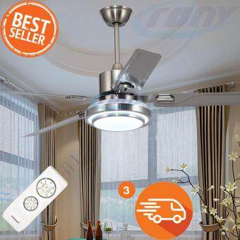 Harga 48 inches Fans Cooling LED Fans With Remote Control(เงิน)