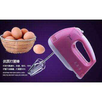 BEST Tmall Electric 7 Speed Egg Beater Flour Mixer Mini ElectricHand Held Mixer (Pink) Free Egg white separator (image 2)