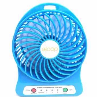 ซื้อ/ขาย eloop Mini fan พัดลมพกพาขนาดเล็ก ชาร์จสายUSB ใส่ถ่าน ลมแรง - สีฟ้า