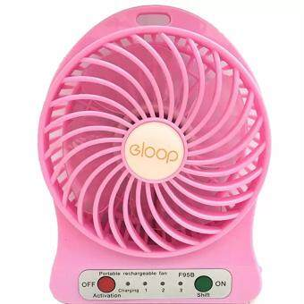 eloop Mini fan พัดลมพกพาขนาดเล็ก ชาร์จสายUSB ใส่ถ่าน ลมแรง (สีชมพู)