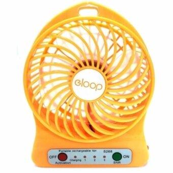 Eloop Mini Fan พัดลมขนาดพกพา ชาร์จผ่านUSB ลมแรงเย็นสบาย (สีเหลือง)