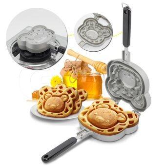 เสนอราคา GetZhop กระทะวาฟเฟิล แม่พิมพ์ทำขนม Waffle Maker ลายหมี (Silver)