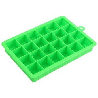 Harga 2 Color Ice Cube Mold 24 Holes Square Shape Silicone Ice Tray Fruit Ice Cube Maker Bar Kitchen Accessories - intl