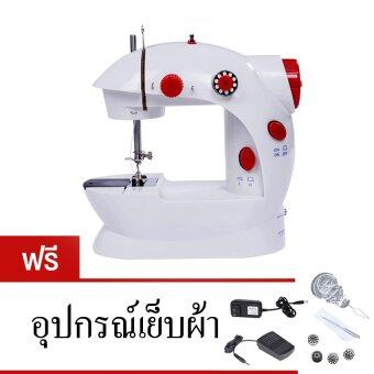 Morestech จักรเย็บผ้าขนาดเล็ก พกพาสะดวก รุ่น Mini Sewing Machine(สีแดง) แถมฟรี อุปกรณ์เย็บผ้า
