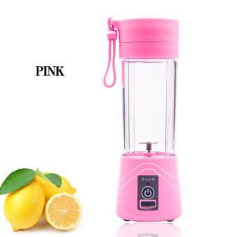 Travel Rechargeable Portable Mini USB Juicer Cup Electric Fruit Mixer Juice Blender Vegetable Extractor 380ML (PINK)