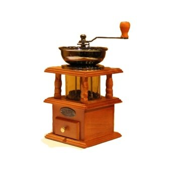 Vintage Roman Style Manual Coffee Bean Grinder Cast Iron Core Mill,Double Closed Bin with Wooden Case - intl