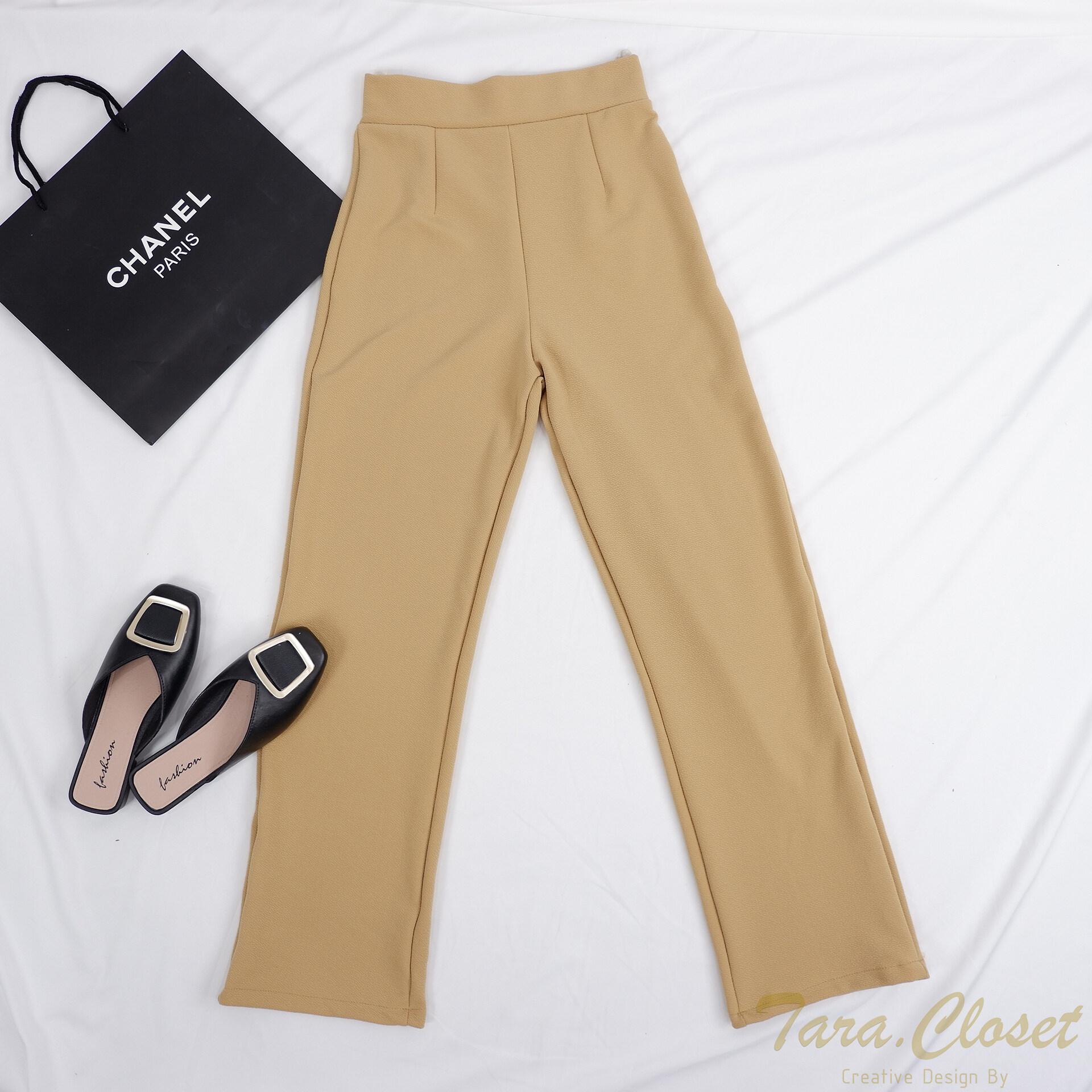 PW501 TARA Long pants กางเกงขายาว เอวสูง ทรงขากระบอก เนื้อผ้าวูลเวฟ ผ้ายืด ใส่สบาย