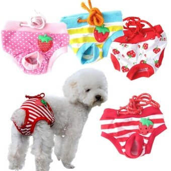 4Pcs Emale Pet Dog Puppy Diaper Pants Physiological Sanitary Short Panty (Size:L) - intl